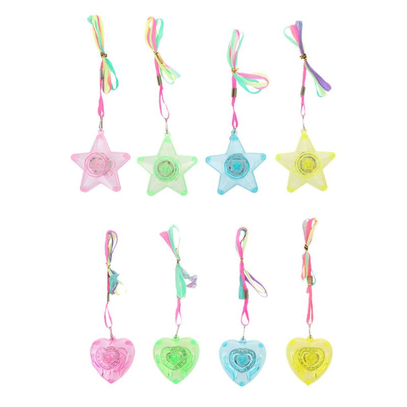 Pentacle Star Heart Shape Colorful LED Sparkle Necklace Shining Pendants Party Favors Kids Toy Light Up Toy