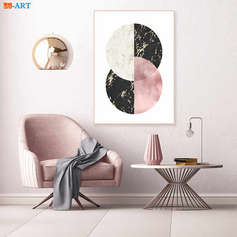 Geometric Prints Blush Pink And Grey Poster Abstract Painting Wall Art Modern Canvas Painting Bedroom Home Decor