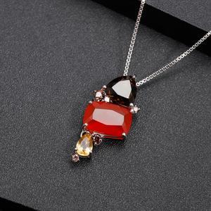 Image 3 - GEMS บัลเล่ต์ธรรมชาติ Carnalian อัญมณีเครื่องประดับ 925 เงินสเตอร์ลิง Handmade Candy สีแดง Agate สร้อยคอจี้สำหรับผู้หญิง