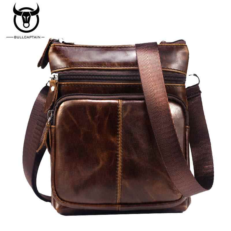 a988136ba8c7 BULLCAPTAIN 2018 для мужчин известный бренд повседневное сумки через плечо  мужской мешок моды пояса из натуральной