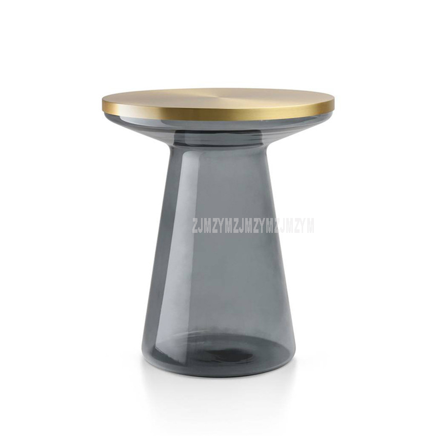 Nordic Round Tea Coffee Table Metal Top Glass Tube Leg Modern Minimalist Home Bedroom Small Sofa Side T Shape Bedside Table