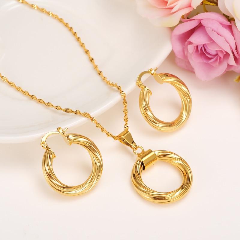 Bangrui Dubai gold Ethiopian necklace & earrings African sets Gold Color jewellery for Israel/Sudan/ Arab/middle east women
