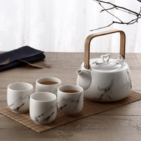Marble pattern Japanese Teaware Set Tea kettle cup wooden tray ceramic tea pot set Household decoration accessories mx6141520