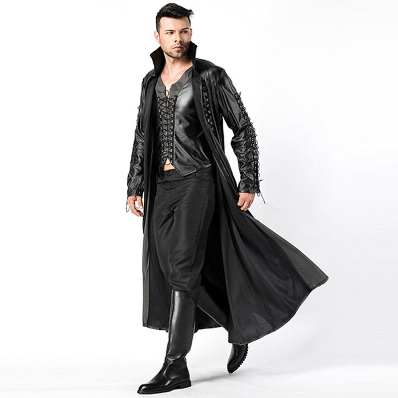 2018 New Adult Mens Halloween Vampire Costumes Faux Leather Outfits Fancy Party Devil Cosplay Dresses With Long Coat and Pants (5)