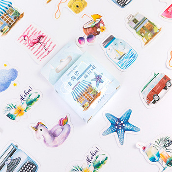 46pcs/box Lovely Go To The Beach Decorative Stickers Diary Album Label Sticker DIY Scrapbooking Stationery Stickers lovely chunky corgi warm embrace decorative washi stickers scrapbooking stick label diary stationery album stickers