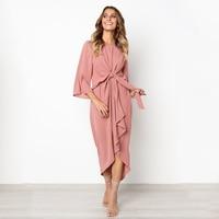 13f4c947c5 Womens Irregular 3 4 Flare Sleeve Dress Elegant Tie Front High Low Party  Midi Dress Smart