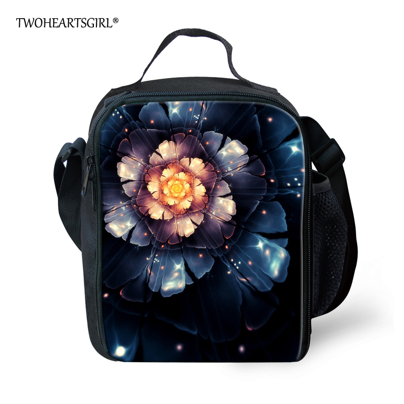 TWOHEARTSGIRL Retro Flowers Pattern Insulated Lunch Bags for Women Kids Thermal Bag Lunch Box Food Picnic Bags Tote Handbags