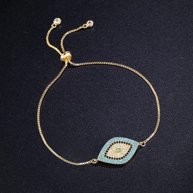 Turkish Design Gold Evil Eye Bracelets for Women Pave CZ Blue Eye Bracelet Gold Jewelry brtk53