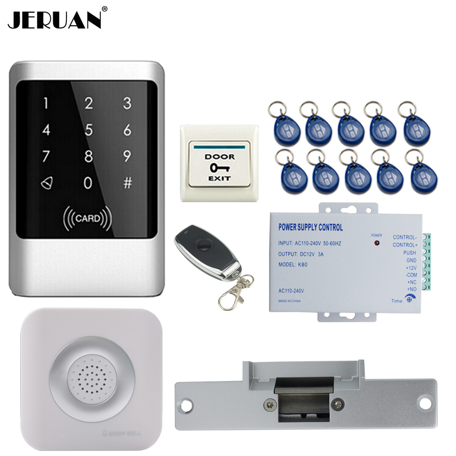 JERUAN Touch key Waterproof RFID Password Access Controller Door control system kit +Remote control + Exit Button +Doorbell jeruan metal waterproof rfid password touch access controller system kit speaker doorbell remote control in stock free shipping