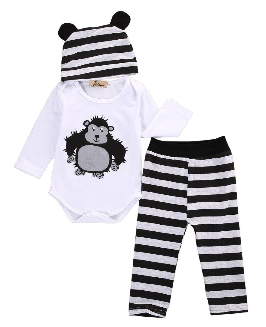 Emmababy новорожденных гориллы комплект одежды 0-18 м хлопок для маленьких мальчиков Обувь для девочек ткань с длинным рукавом Осенние Теплые Ко...