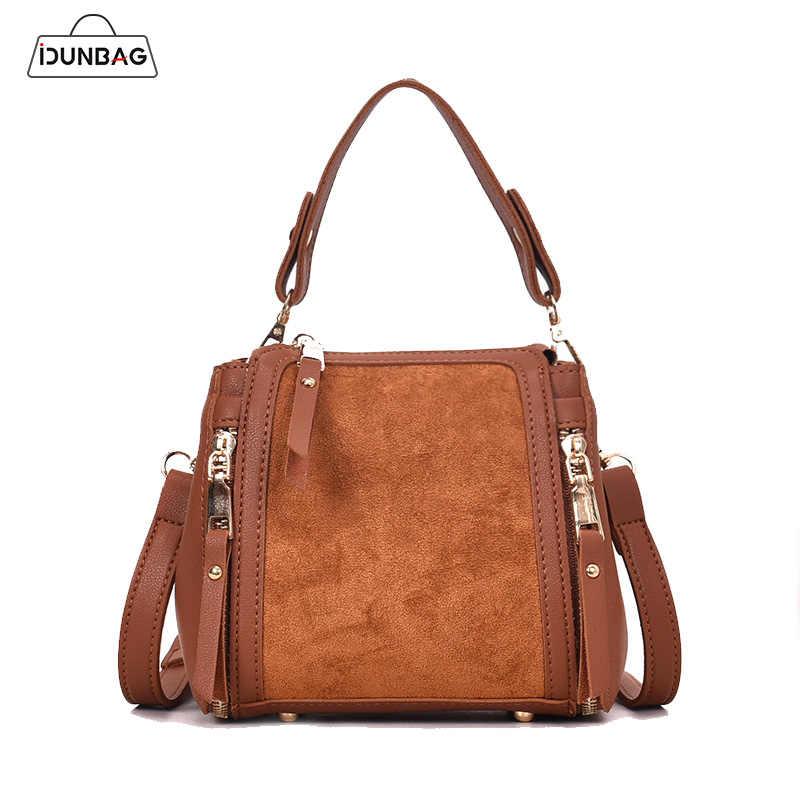 782888250cbb Vintage Nubuck Leather Handbags Women Bag Small Mini Bucket Tote Shoulder  Bag Ladies Crossbody Bags With Double Zipper Sac Femme