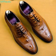 Men Dress Shoe Genuine Cow Leather Brogue Wedding Shoes Mens Casual Flats Crocodile Pattern Oxford US 11.5