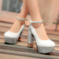 Big Size 33-42 Retro Style Shoes Women Solid square High Heels black white gold silver Casual Party wedding Shoes Women 4 Colors