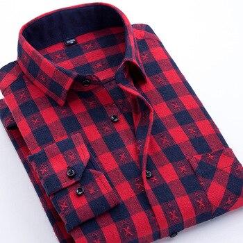 Casual Men Plaid Shirt Spring Autumn Flannel Shirt Men Dress Shirts Fashion Long Sleeve Slim Fit Chemise Homme Cotton Male Shirt 3