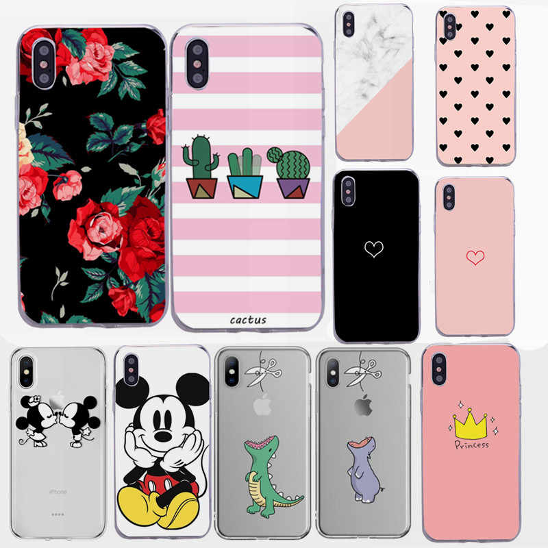 Bloem Cover voor iPhone X XR 5 5S SE 6 S 7 8 Plus Fundas TPU Coque Zachte Voor iPhone 7plus 8 plus Cover TPU Voor iPhone Xs Max case