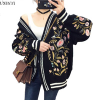LXUNUYI Autumn Winter Korean Flower Embroidery Knitted Cardigan Women Long Sleeve V Neck Thick Casual Loose