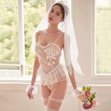 Women Sexy Lace Lingerie Babydoll Underwear Hot Erotic Wedding White Dress Cosplay Porno Costume