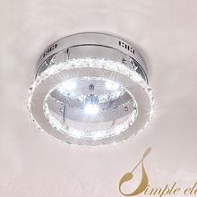 Modern minimalist LED stainless steel circular bedroom living room Ceiling Lights, luster crystal lamp lighting lamp D30/20cm
