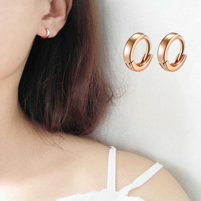 585 cor de ouro mini tendência fina hip-hop huggie círculo pequenos brincos de argola para as mulheres moda presente quente para crianças meninas do bebê