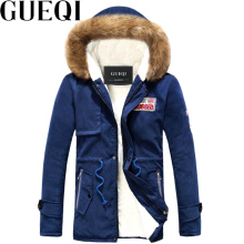 GUEQI Fur Hooded Men Winter Parkas Plus Size M-4XL Cotton Padded Outerwear 2018 White Fleece Man Casual Warm Jackets