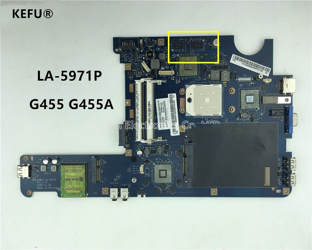 KEFU Notebook PC Motherboard For Lenovo G455 G455A Main Board NAWA1 LA 5971P Socket s1 DDR2
