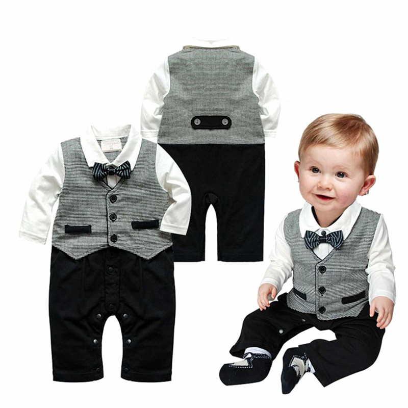 2017 Direct Selling Baby Rompers Newborn Prince Clothing Bow Tie Formal Gentleman Overalls Boys Brand Clothes Infant Jumpsuits summer baby boy rompers newborn gentleman clothing set cotton bow tie prince leisure costumes infant jumpsuit brand boys clothes