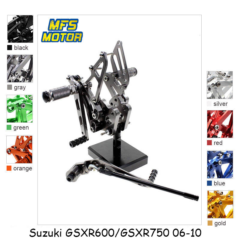 For Suzuki GSXR600 GSXR750 2006 - 2010 CNC Adjustable Rearset Foot Rest Foot Pegs GSXR 600 750 2007 2008 2009 2010 Foot Rests voltage regulator rectifier for suzuki gsxr 600 750 2006 2007 2008 2009 2010 2011