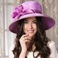 Sombreros de verano Para Mujeres Purple Iglesia Boda Kentucky Derby Sombrero Tapa