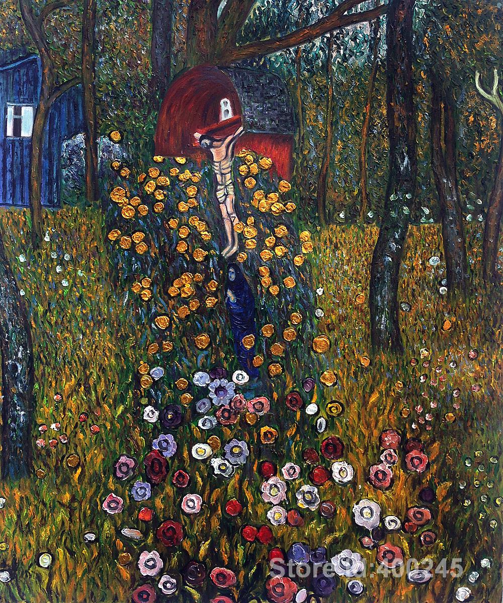 Best art reproduction cottage garden with crucifix golden for Gustav klimt original paintings for sale