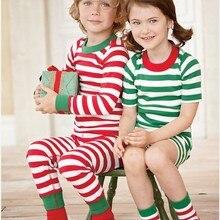 Рождественские детские пижамы для малышей, красный комплект с длинными рукавами, полосатые наряды для маленьких мальчиков и девочек, Рождественский комплект одежды для сна для малышей