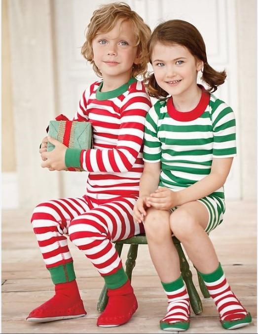 Toddler Christmas Kids Pajamas Long Sleeve Red Set Baby Boys Girls Striped Outfits Christmas Baby Sleepwear Set