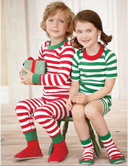 Toddler Christmas Kids   Pajamas   long sleeve red   set   Baby Boys Girls Striped Outfits Christmas baby Sleepwear   Set