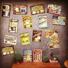 Barra de señal de Metal ROUTE66 para hamburguesas y patatas fritas, decoración de pared, letrero de Metal Vintage, decoración del hogar, cartel de placas de arte