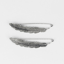 Antique Silver Large Feather Durable Strong Metal Kilt Scarf Brooch Safety Pin 88mm