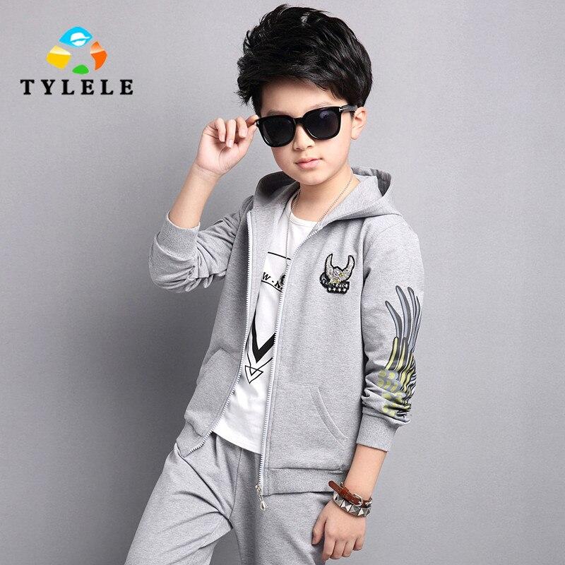 ФОТО New 2017 Spring Costume Boys Clothing Set Fashion Brands Teenage Girls Boys Sport Set Kids Clothes Set Outerwear 8 10 12 14 Year