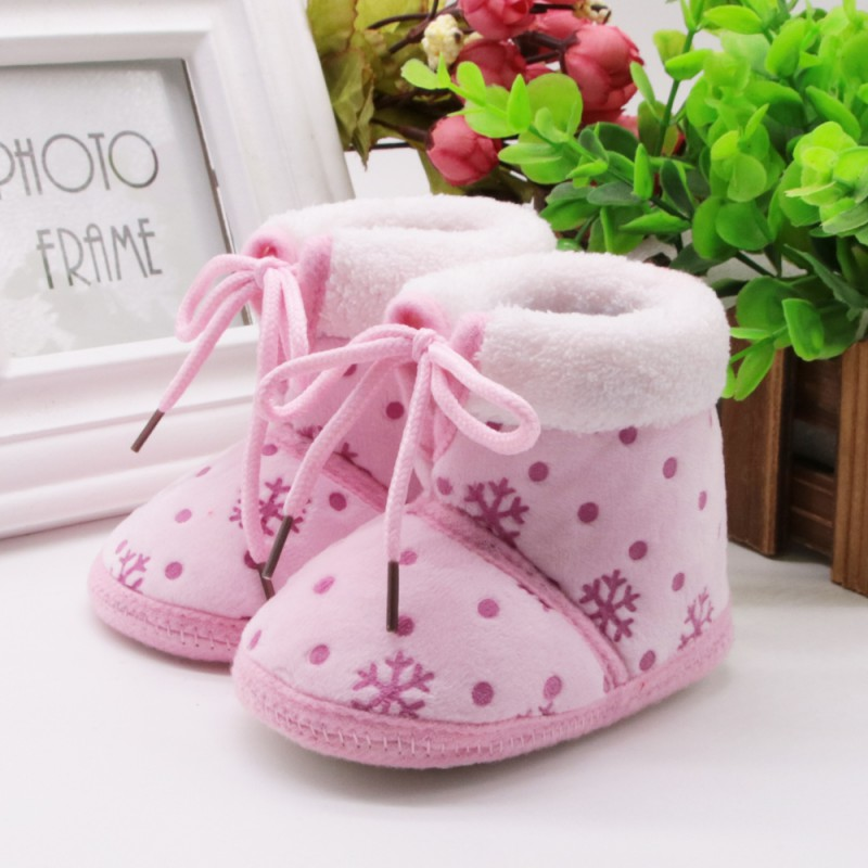 Winter Warm Girls Plush First Walkers Toddler Infant Snowflake Prewalker Boots Bebe Sapatos Soft Baby Shoes