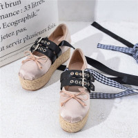 High Platform Espadrilles Loafers Round Toe Women Flats Nude Black White Bowties Satin Soft Leather Lace Up Shoes backless