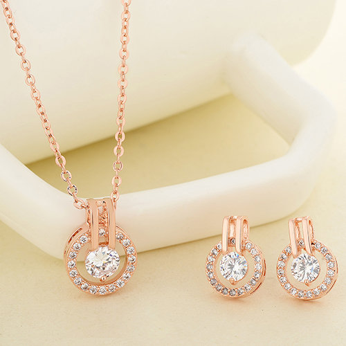 New Arrival Women's Zircon Round Pendent Choker Chain Necklace Earrings Wedding Jewelry Set Fashion Leader' Choice 5