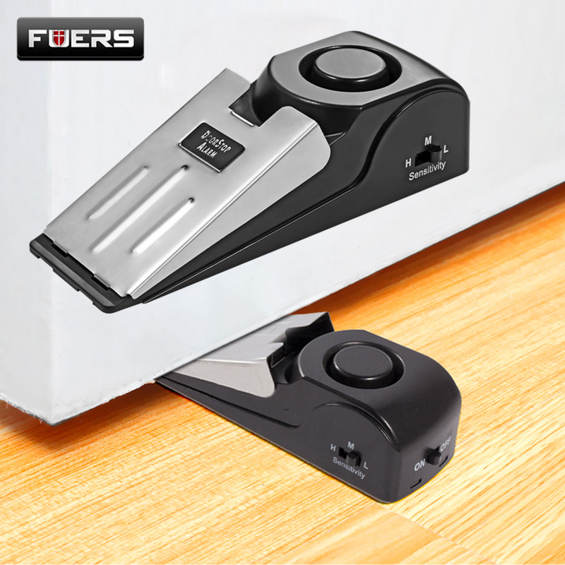 Fuers Wireless Vibration Triggered Home Wedge Shaped Stopper Alert Security System Door Stop Alarm Block Blocking System new 120db door stop alarm system home security wedge shapped stopper blocking system for hotel travelling
