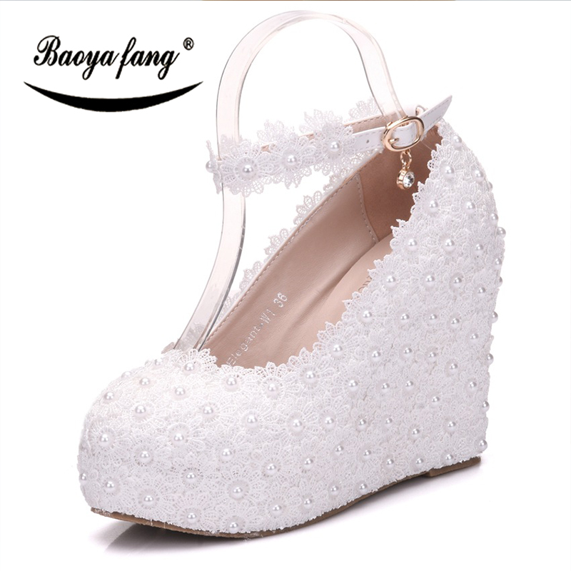 цены BaoYaFang White Lace Womens wedding shoes Bride High heels Wedges Ankle Strap Ladies party dress shoes woman pearl shoes