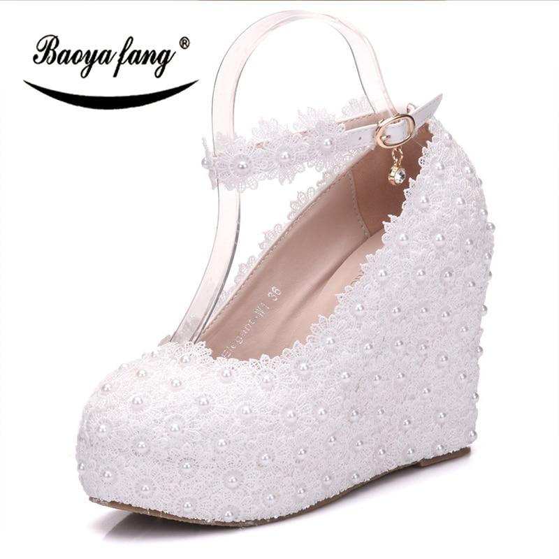BaoYaFang biały koronki damskie buty ślubne panna młoda wysokie obcasy kliny kostki pasek panie sukienka na imprezę buty kobieta pearl buty w Buty damskie na słupku od Buty na AliExpress - 11.11_Double 11Singles' Day 1
