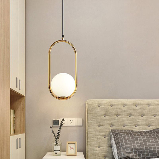 Nordic Glass Ball Pendant Lights Vintage Hoop Gold Modern LED Hanging Lamp for Living Room Home Loft Industrial Decor Luminaire 4