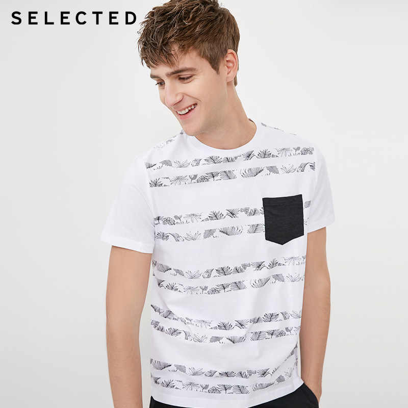 SELECTED Spring & Summer Men T shirt O-neck 100% Cotton Botanic Print T-shirt Men | 4182T4572