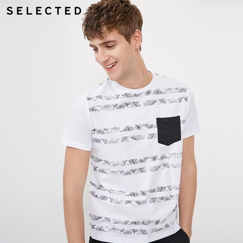 SELECTED Spring & Summer Men T Shirt O-neck 100% Cotton Botanic Print T-shirt Men | 4182T4572