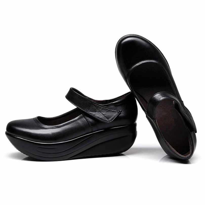 לין מלך מזדמן אמיתי עור נשים נדנדה משאבות טריזי פלטפורמת נעלי גובה להגדיל נעלי אם נוחות נעלי גדול גודל