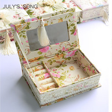 JULY'S SONG Pastoral Jewelry Organizer Earring Casket Storage Box Container Casket For Jewelry Trinket Storage Case Gift Box