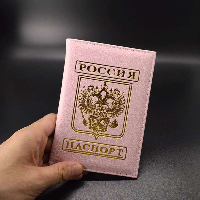 Pink Passport Cover Russia Travel Passport Case Women Cute Fashion Covers for Passports Soft Pu leather Passport Protector