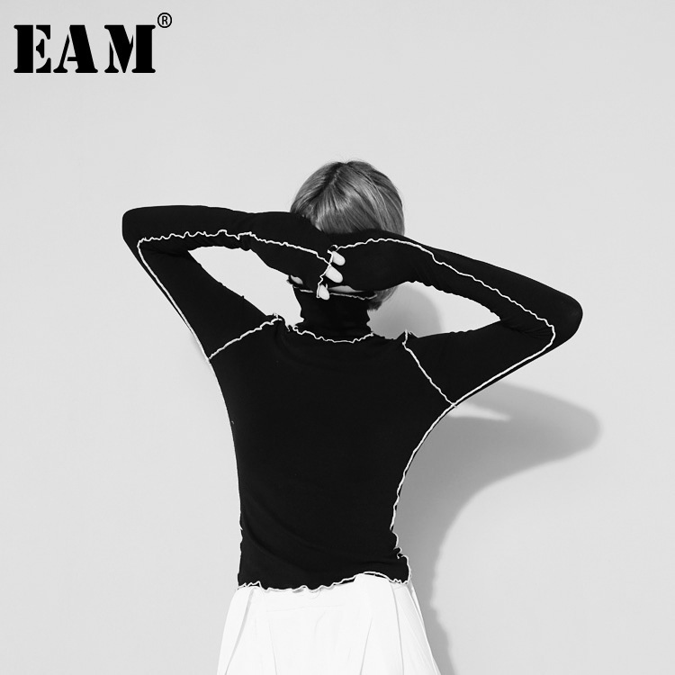 [EAM]2019New Autumn Winter  High Collar Long Sleeve Solid Color Black Reffles Split Joint Loose T-shirt Women Fashion Tide JE155