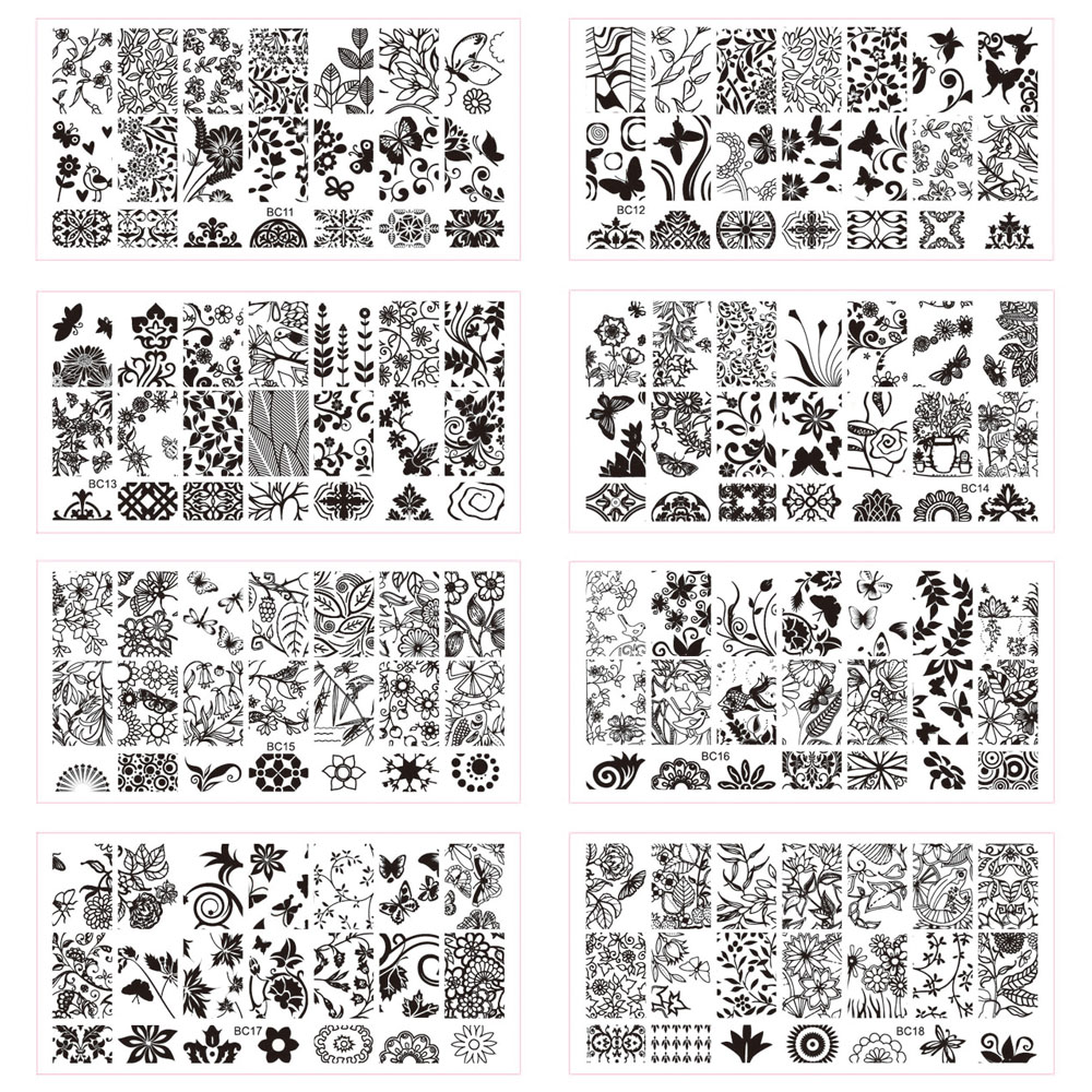 10pcs new 12x6cm rectangle flower pattern stamps stencils for Decor 6 template