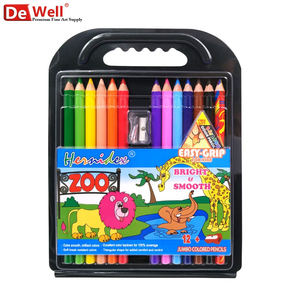 12 Colors Jumbo Pencils Non-toxic lapis de cor Jumbo Colored Pencil Set for Children Creative Toys Gifts Crayon School Supplies
